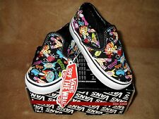 NEW VANS GUITAR MONSTER CLASSIC SLIP-ON SHOE BLK/WHT/MULTI TODDLER SZ 4.5
