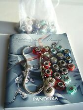 "PANDORA ""CELEBRATE THE MOMENT"" BOOK, 50 MURANO CHARMS + STERLING SILVER BRAVELET"