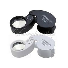 40X 25mm Power Jeweler Loupe LED Loop Magnifier Magnifing Glass New Lighted