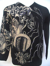 CHRISTIAN AUDIGIER MENS PLATINUM  BLACK PANTHER RHINESTONE SWEATER SHIRT