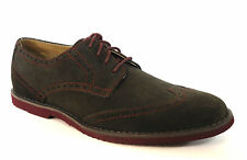 Calvin Klein Men's Faxon Wing Tip Dark Charcoal/Wine Oxford Suede Shoe