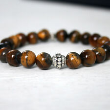 Mens Bracelet Genuine Tigers Eye Tibetan Silver Vintage Charm Stretch Handmade