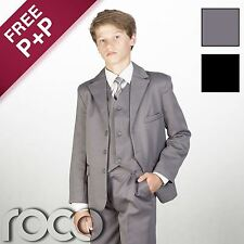 Boys Suit Wedding 5 Piece in Black, Grey, Page Boy Suits, Age 6mth - 15yrs
