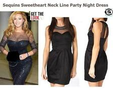 SEQUIN SWEETHEART LACE DRESS PARTY EVENING TUNIC MINI TOP SHIFT CLUB COCKTAIL