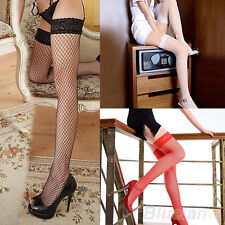 Fashion Sexy Women Lace Top Large Fishnet Thigh-High Long Socks Stockings