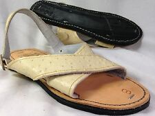 LEATHER MEXICAN two strap SANDALS white ostrich print HUARACHE MEN *ALL SIZES*