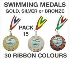 PACK OF 15 (0.75p each) Swimming Medals Budget & Ribbon Metal Ref: GMM7050-MR1