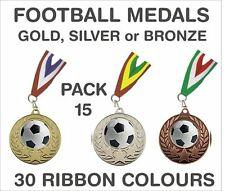 PACK OF 15 (0.65p each) Football Medals Budget and Ribbon Metal 50mm GMM7050-MR1