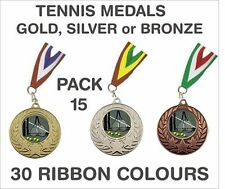 PACK OF 15 (86p each) Tennis Medals Budget & Ribbon Metal 50mm Ref: GMM7050-MR1