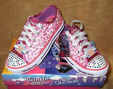 NEW SKECHERS LIGHT UP TWINKLE TOES MYSTICALS SHOE HOT PINK/PRPL GIRL SZ  3