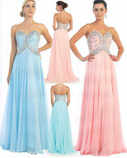 Chiffon Long Ball Gown Formal Dress Party Gala Prom Evening Pageant Beading 4-16