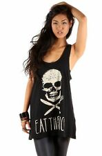 "IRON FIST LADIES "" EAT THE RICH "" WOMENS BLACK TANK TOP / T-SHIRT / VEST (L3C)"