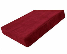 ma15t Scarlet Velvet Style 3D Box Thick Sofa Seat Cushion Cover*Custom Size*