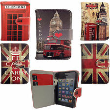 Vintage London Flip Leather Wallet Case Cover For Apple iPhone 5 5G 5S