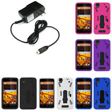 Tough Hard Shell Stand Case For Boost Mobile ZTE Max N9520  Travel Charger