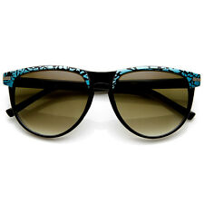 Two-Tone Pattern Color Keyhole Mod Horn Rimmed Sunglasses