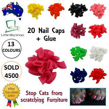 New Cat Nail Caps Soft Gel Pet Paws Claw Covers 20pcs Glue 13 Colours AU SELLER