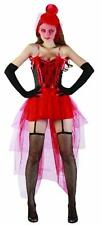 Ladies Sexy Saloon Fancy Dress Burlesque Red Corset Tail Back Skirt Wild West