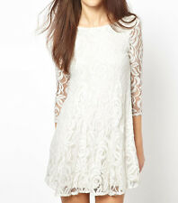 Women V Back 3/4 sleeve white lace dress