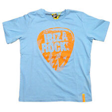 OFFICIAL Ibiza Rocks Neon Orange Bolt Logo Plectrum Kids Blue T-shirt RRP £25.00