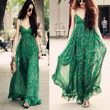 Sexy Women Strap BOHO Summer Beach Chiffon Ball Gown Long Maxi Dress party Club