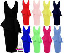 Ladies V Neck Frill Peplum Womens Bodycon Knee Length Pencil Midi Party Dress