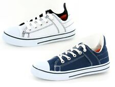 Boys Canvas Lace Up Pumps With High Back And Rubber Toe Cap 'X0006'