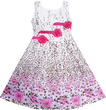 Girls Dress 3 Pink Flower Leaves School Party Children Clothes Size 6-14 Y New