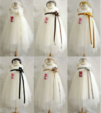 Ivory with color sash tutu tulle wedding party dancing flower girl dress