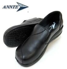 Annte Shoes Women's Oil&Slip Resistant shoes Black Leather FLORAL B5896