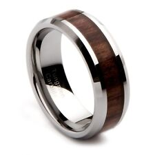 Tungsten Carbide Wood Inlay Ring Men's Wedding Band, Sizes 7-13+ Half Sizes