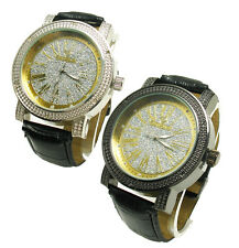 Genuine Men's Diamond Maxx Roman Numerals Glitter Face Watch (Choose Case Color)