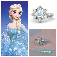Disney Film Queen Elsa Anna's Snowflakes Ring 925 Sterling Silver Engagement