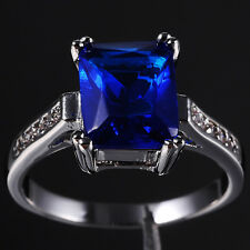 Size 6-9 Nice Jewelry Lady's 10KT White Gold Filled Blue Tanzanite Wedding Ring