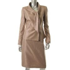 Le Suit Taupe Shimmer Lined 2pc Jacket & Skirt Suit Set - NEW
