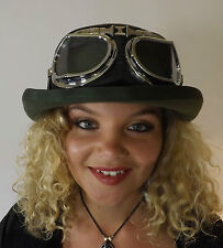 New Secret Party Festival Olive Green Victorian Bowler Hat & Steampunk Goggles
