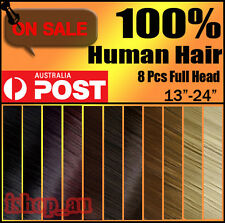 Premium Full Head Clip In 100% Real Remy Human Hair Extensions i1