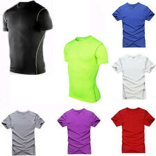 Mens Sports Compression Wear Under Base Layer Short Sleeve T-Shirts Athletic Top
