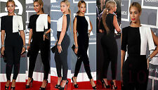 Celeb Beyonce Monochrome Cut Out 3/4 Sleeve Playsuit Women All In One Jumpsuit
