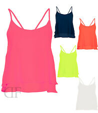 NEW LADIES WOMENS CAMI STRAPPY FRILL CASUAL EVENING CAMISOLE TOP SIZE 8-14