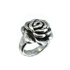 Size-6,7,8,9, Sterling Silver Electroform Puffy Flower Rose Ring Pure 925 Silver