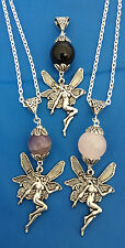 gemstone angel or wing pendant necklace onyx amethyst quartz silver plated chain