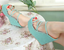 Sexy Women Platform Wedges Transparent Synthetic Leather High Heels Sandals Shoe