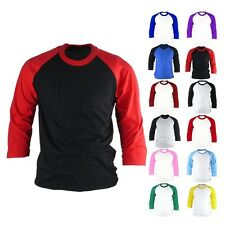 New 3/4 Sleeve Raglan Baseball Tee T-Shirt Mens Casual Shirts Jersey