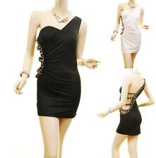 NEW Women Sexy Cut-Out One Shoulder Ruched Party Clubwear Chain Mini Dress S M L