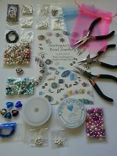 Large Jewellery Making Kit, Tools, Beads, Findings, silver plated instructions