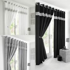 FAUX SILK DIAMANTE TRIM FULLY LINED EYELET RING TOP CURTAINS – ALL SIZES