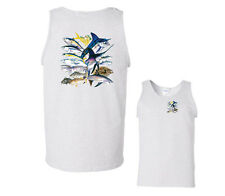 Salt Water Tank Top Saltwater Collage Shirt Angler Fish Shark Blue Marlin mens
