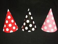 Mickey Minnie Mouse Party Cone Hats Black, Pink, Red Polka Dots  Birthday U Pick