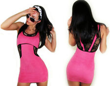 "NEW! ""Solaris"" Sexy Fitting, Lace Trim, Pink Micro-Mini Clubwear Dress JUNIORS"